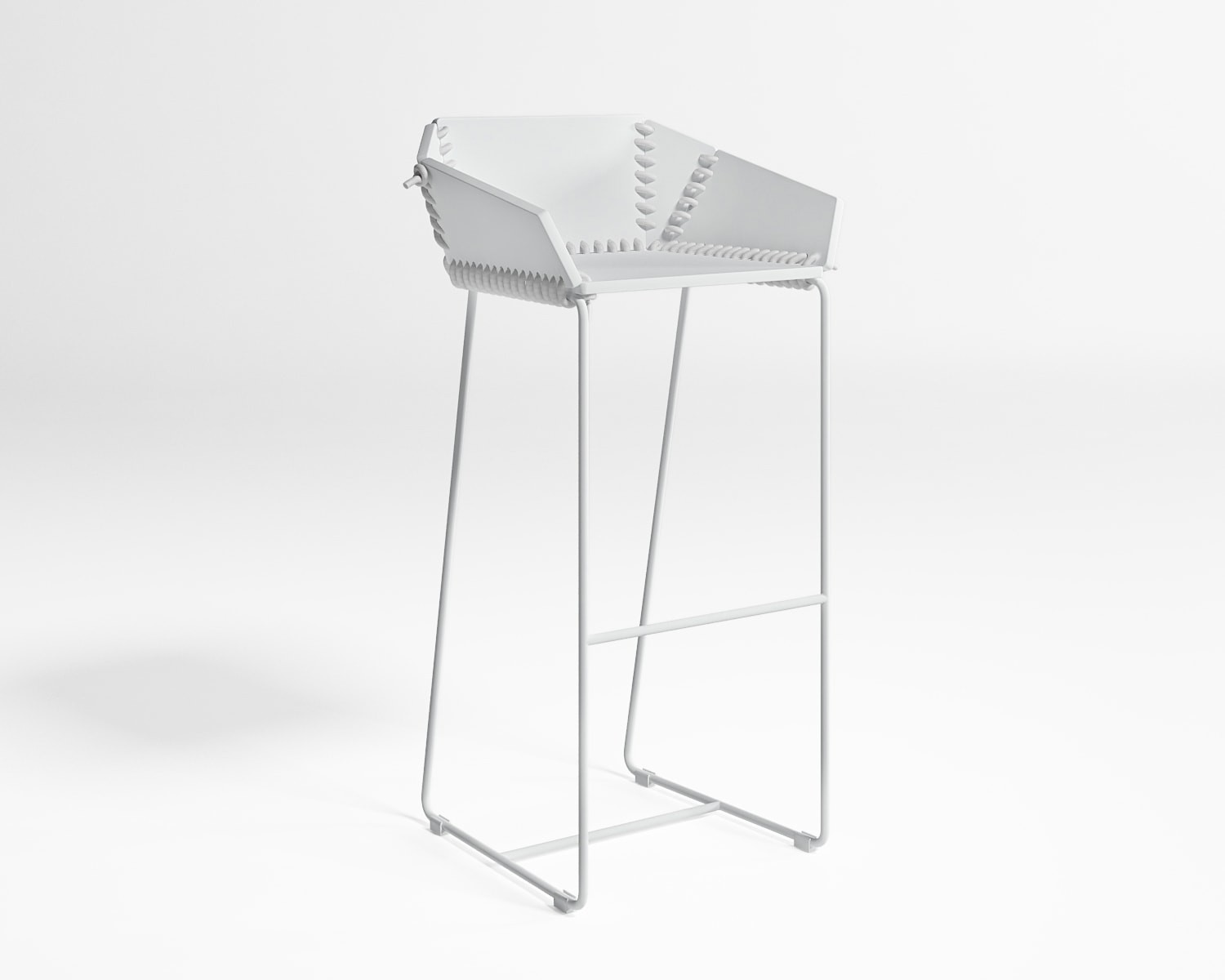 Textile Stool with Backrest
