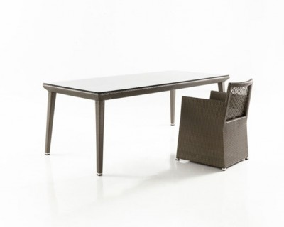 Tunis Rectangular Dining Table with Glass